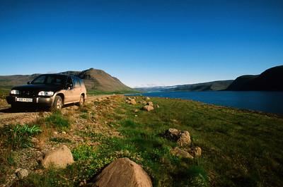 Muddy rental car, near Talknafjordur