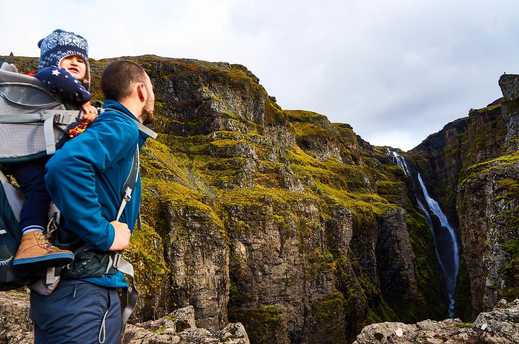 Admiring Glymur in Iceland