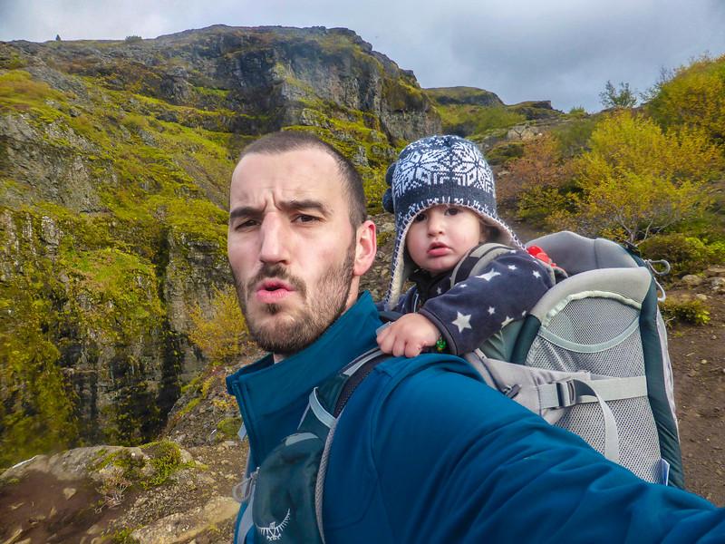 Ayla & Edwin on the hike to Glymur, Iceland