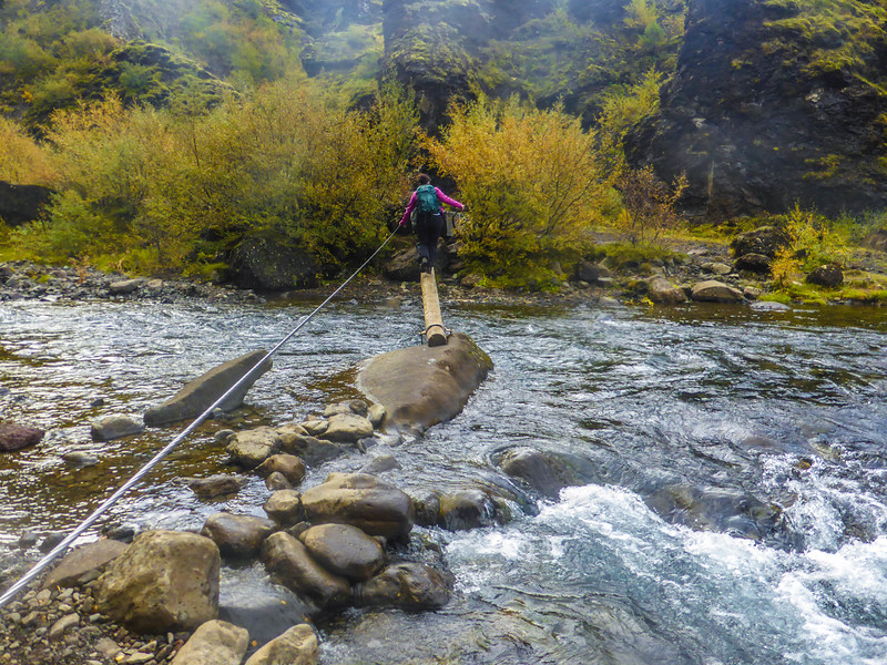 River crossing on the way to Glymur, Iceland
