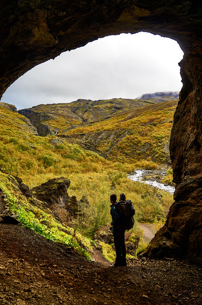 Cave view on the way to Glymur, Iceland