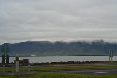 Fog covering mountain ranges in Iceland
