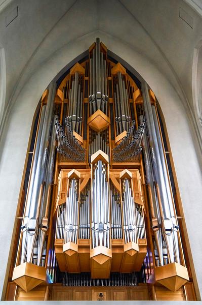 Organ at Hallgrimskirkja in Reykjavík, Iceland.