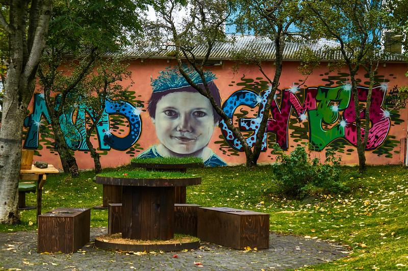 Mind Games mural in Reykjavík, Iceland