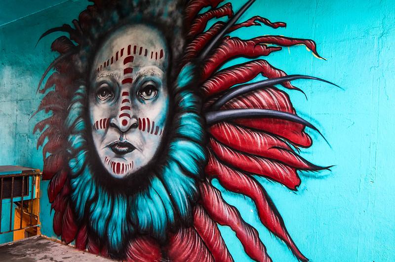 Ethnic portrait mural in Reykjavík, Iceland
