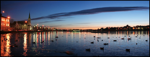 Tjörnin at sunset panorama