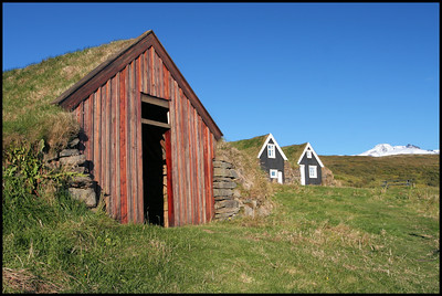 Turf roof buildings near Skaftafell National Park