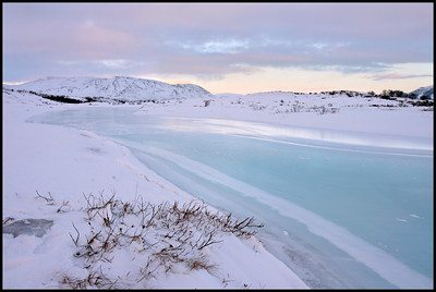 Frozen river in Thingvellir