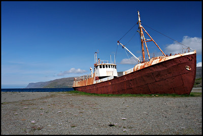 Iceland's oldest steel ship, built in 1912, beached in 1981