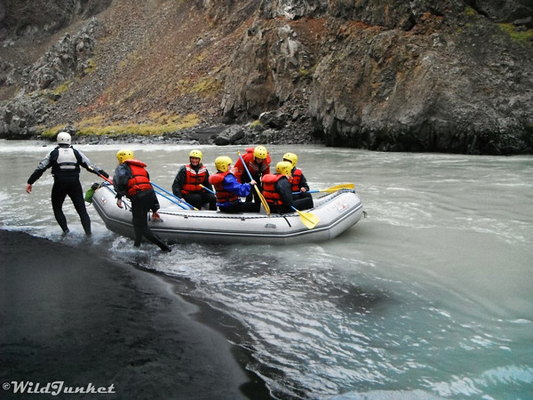 Whitewater Rafting in the Glacial River of Northern Iceland