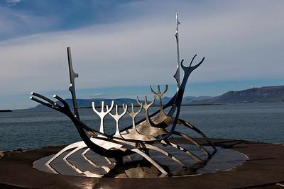 Viking ship statue in Reykjavick