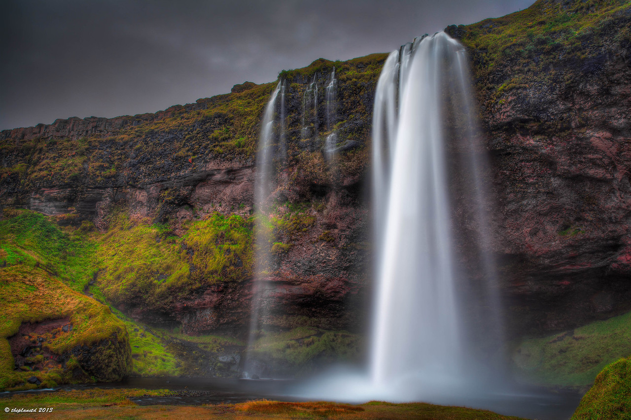 The beautiful Seljalandsfoss in southern Iceland
