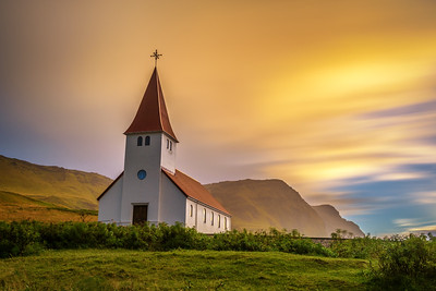 Sunrise over the lutheran church   in Vik, Iceland