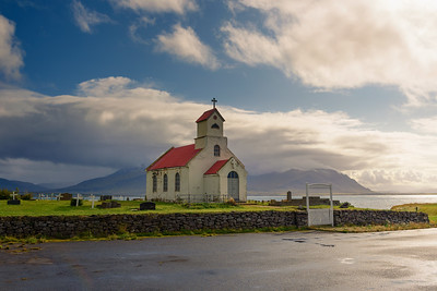 Innra-Holmskirkja church with a cemetery in Iceland