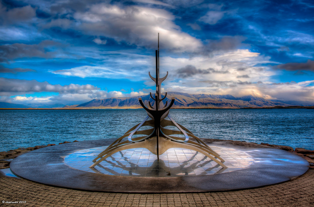 The Viking Monument in Reykjavik has an amazing backdrop.