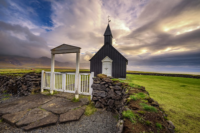 Black wooden church of Budir in Iceland