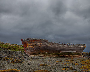 An old shipwreck on the island of Flatey, Iceland