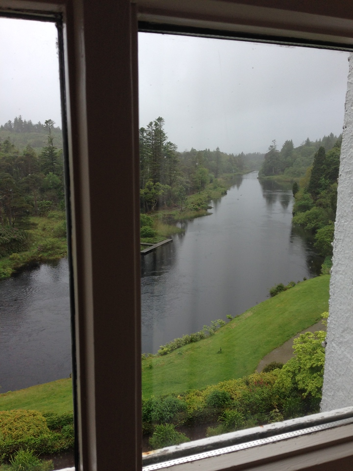 View from Ballynahinch Castle to the river below.
