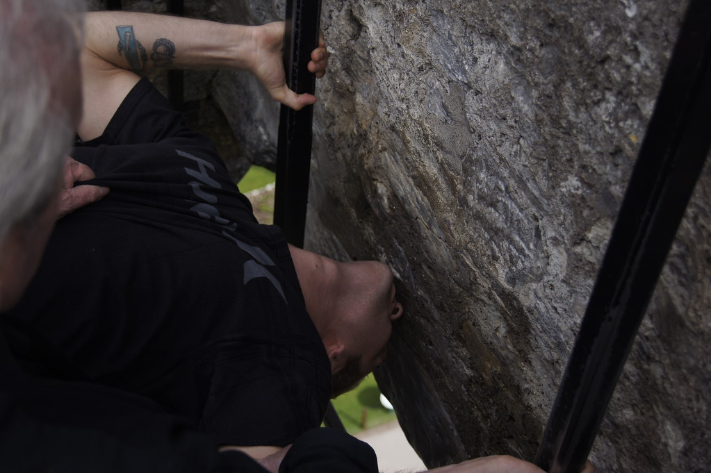 Kissing the Blarney Stone at the castle during our one day in Blarney Ireland