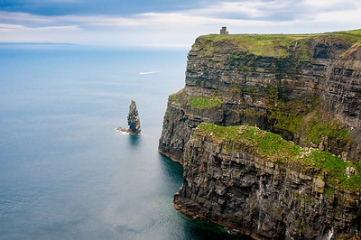 The rugged and steep cliffs at Cliffs of Moher in Ireland