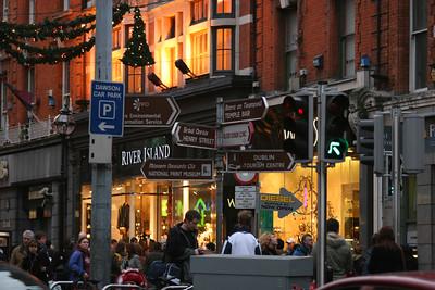 Foot of Grafton Street, Dublin. Christmas.