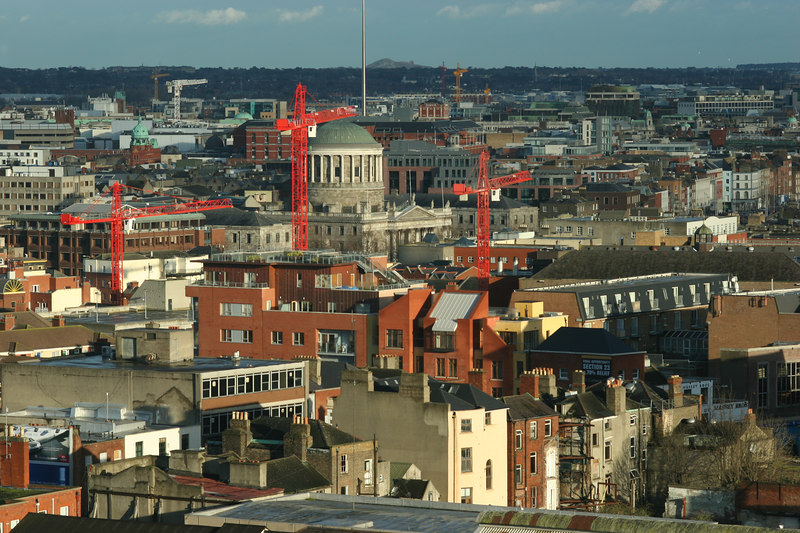Dublin, from vantage of Guinness Storehouse. The round building is the Four Courts. Behind it is the Spire, on o'Connell Street.