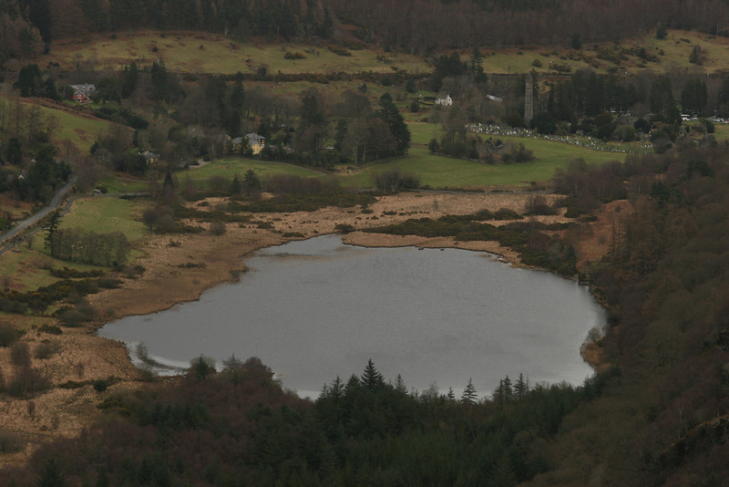 View from the Spink back toward Monsatic City, Glendalough