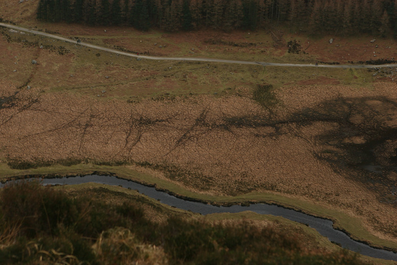 View down to the river from the Spink, Glendalough