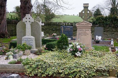 Flowers in memorial at a grave site in Ireland