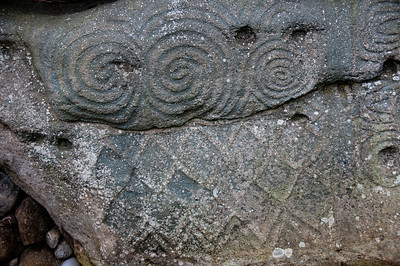 Carvings on stone walls of Newgrange in County Meath, Ireland