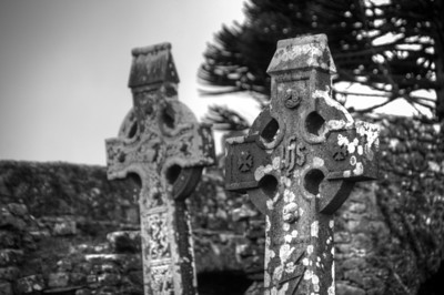 Old cross at Mellifont Abbey in B&W - County Louth, Ireland