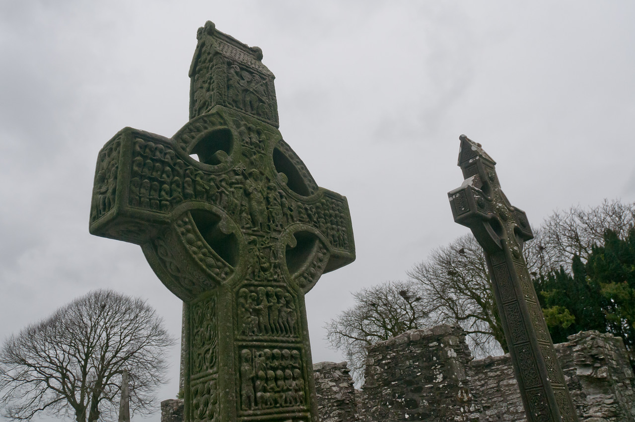 Close-up shot of cross at grave site in Lahinch Liscannor in County Clare, Ireland