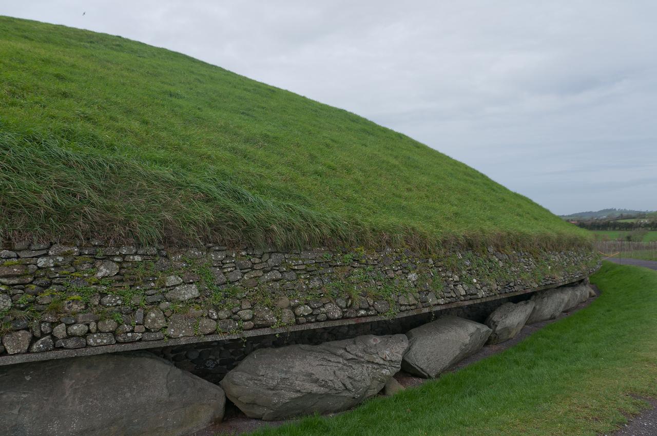 Well kept landscape surrounding the Newgrange in Ireland