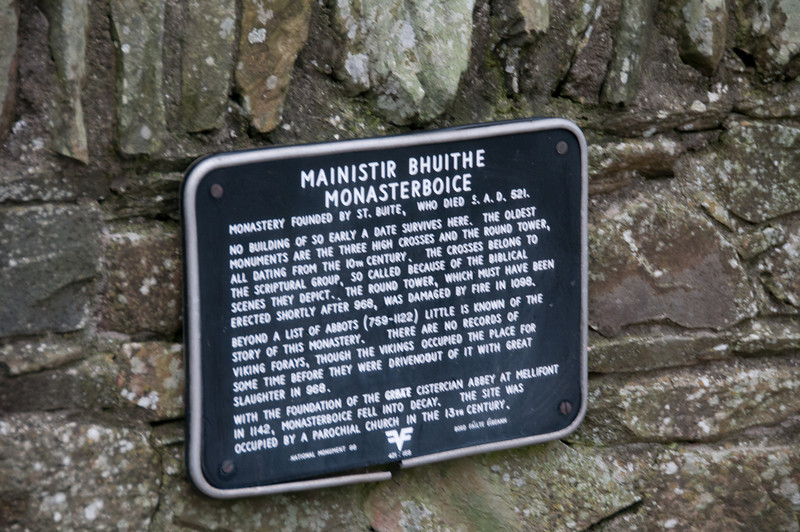 Historical sign outside Monasterboice in Drogheda, Ireland