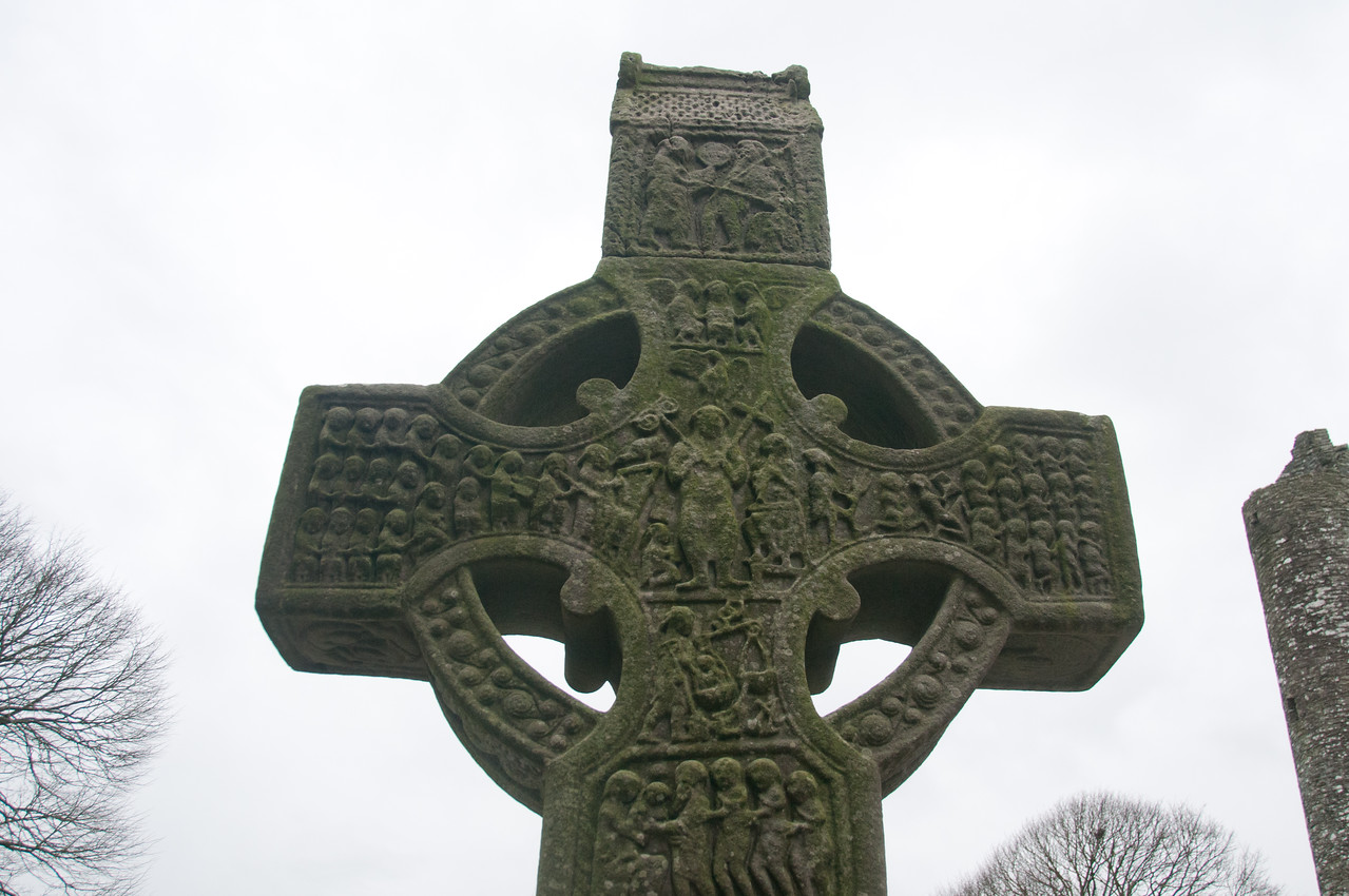 Celtic cross at an ancient burial site in County Meath, Ireland