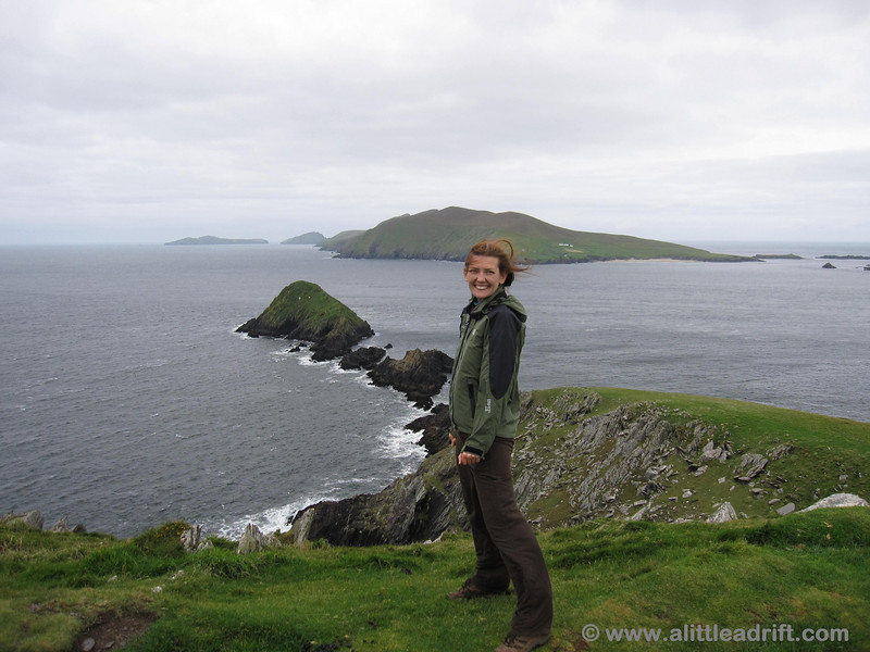 Windy day on the knoll looking out over the Blasket Islands