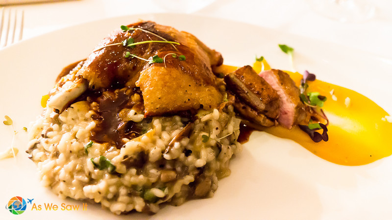 Confit duck leg, roast duck breast, mushroom risotto, sweet potato puree, port wine jus