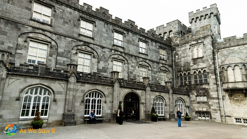 View of two of Kilkenny Castle's exterior walls from the courtyard