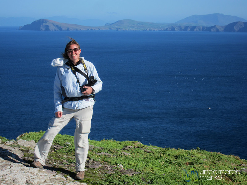 Audrey at the top of Skellig Michael - Ireland