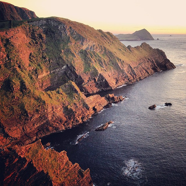 """Looking south, the Cliffs of Kerry at dusk. Billed as """"the most spectacular cliffs in Kerry"""" in no fewer than 50 road signs. They weren't kidding. #dna2ireland"""