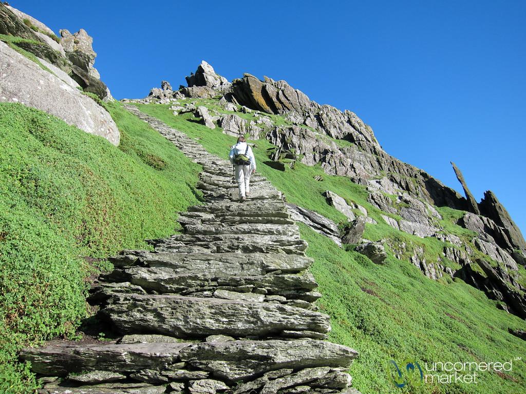 Audrey Climbs Up Skellig Michael - Ireland