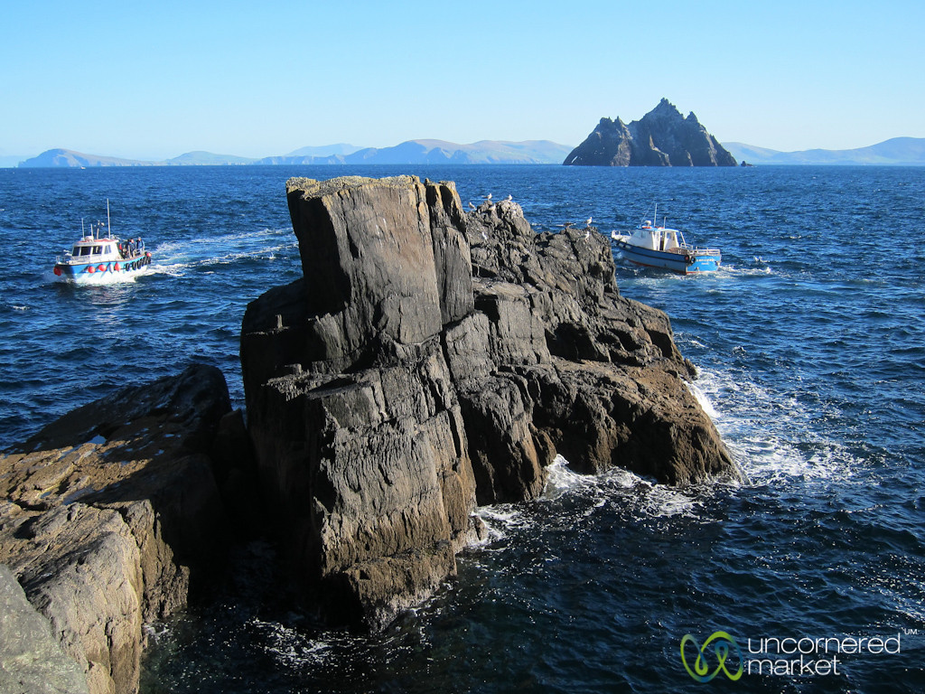 Looking Out Over Boats and Small Skellig - Skellig Michael, Ireland