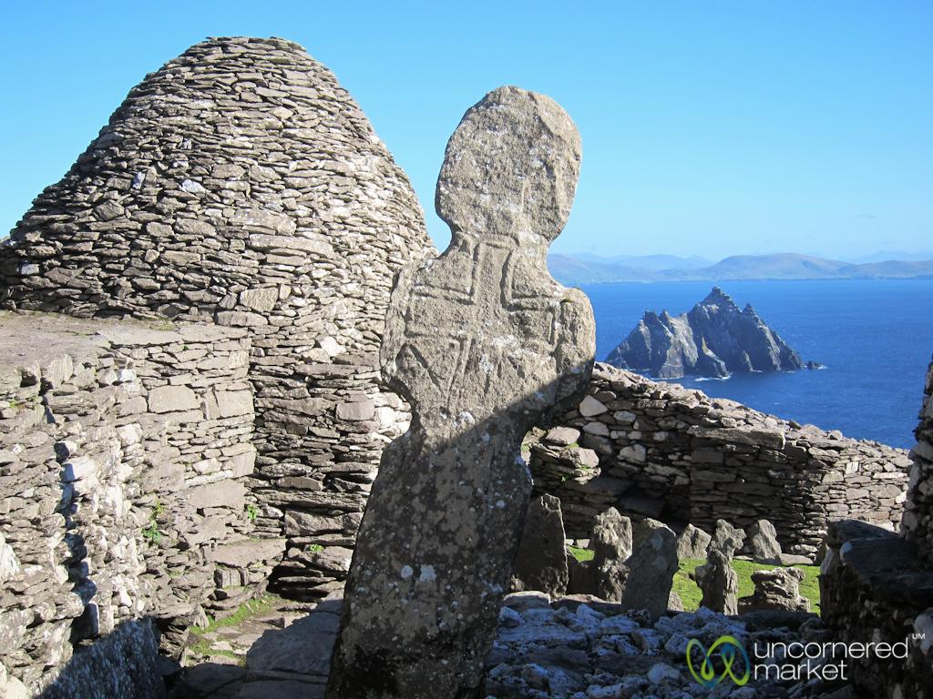 Irish Cross at Skellig MIchael Monastery - Ireland