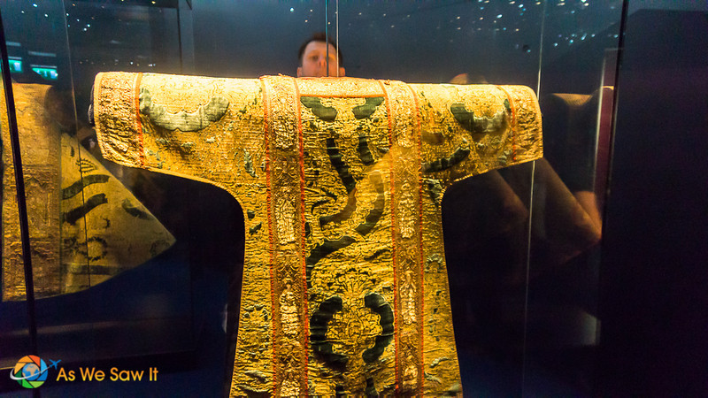 Priest cloak made out of gold thread displayed at the Waterford Museum