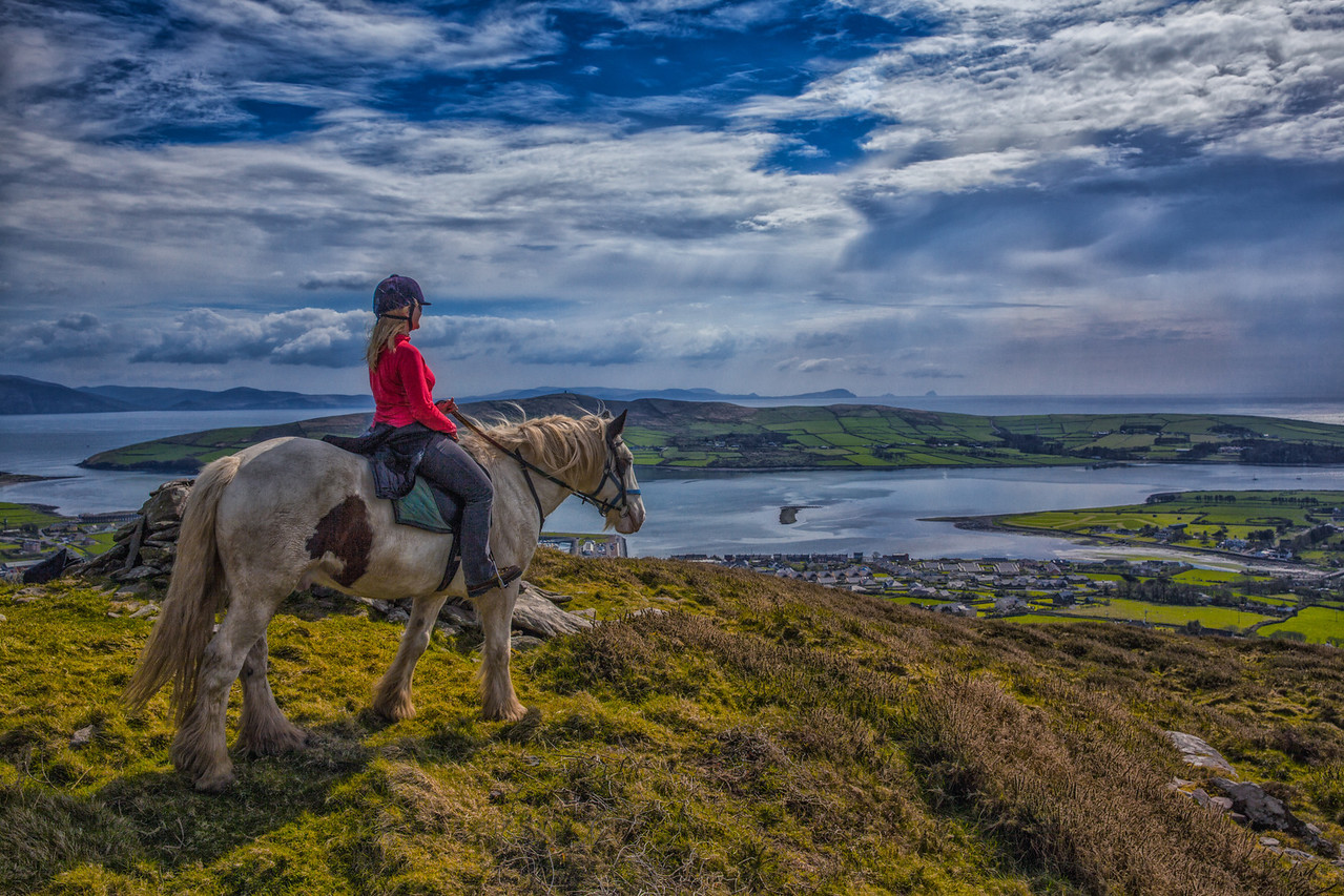 Taking in the view from horseback over the Dingle Peninsula in Ireland