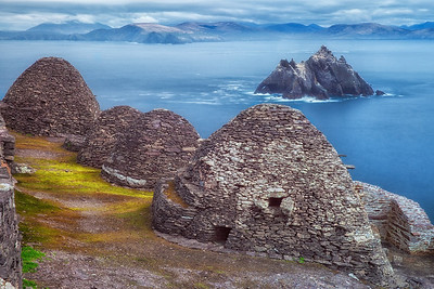 The famous Bee Hive Huts at Skellig Michael, Ireland