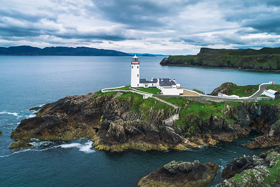 Aerial view of the Fanad Head Lighthouse in Ireland