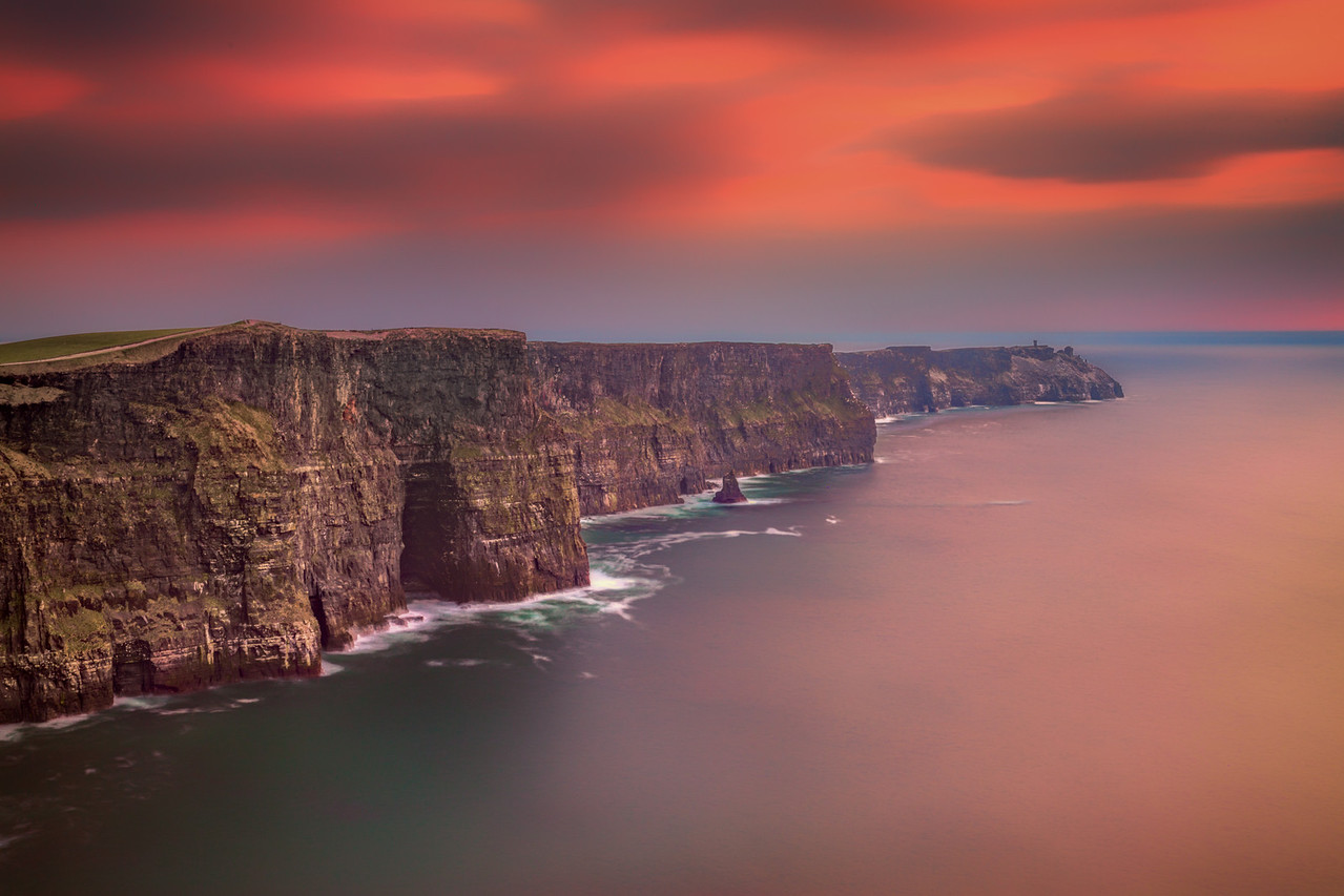 Sunset over the Cliffs of Moher