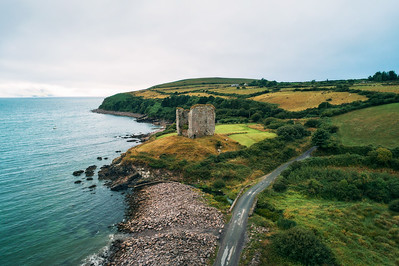 Aerial view of the Minard Castle situated on the Dingle Peninsula in Ireland
