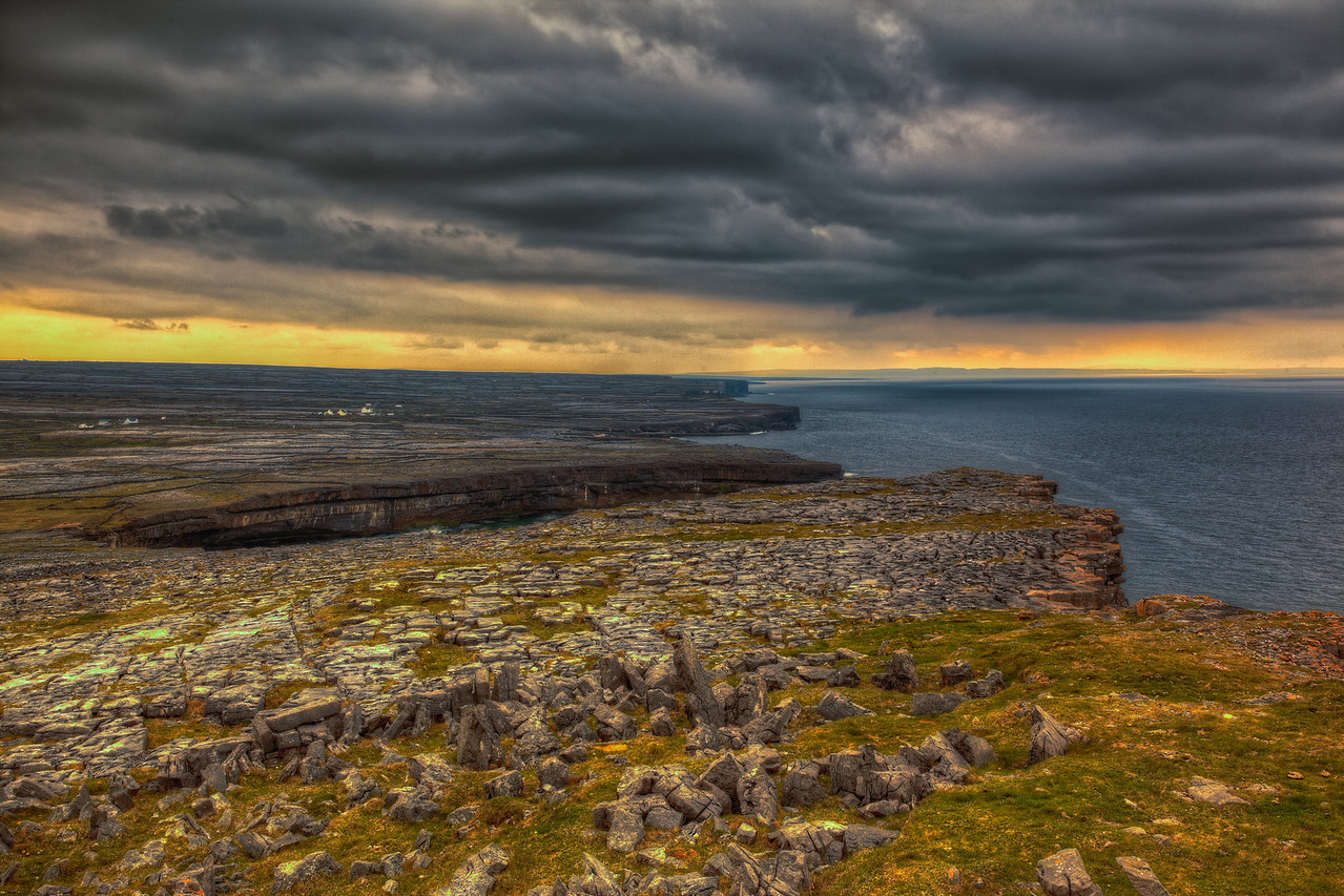 The ruins of Dun Aengus on the Aran Islands in Ireland